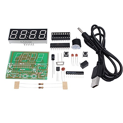 Icstation C51 4 Digit Electronic Digital Alarm Clock Kits DIY Electronics Practice Set AT89C2051 Chip