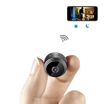 Mini Cámara Espía WiFi Cámara Oculta Inalámbrica HD 1080P Interior Casa Pequeña Cámara Espía Cámaras De Seguridad/Cámara Nanny Incorporada Batería con ...