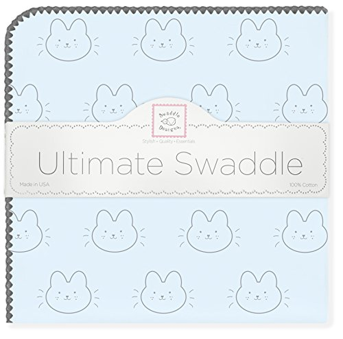 SwaddleDesigns Ultimate Swaddle, X-Large Receiving Blanket, Made in USA Premium Cotton Flannel, Baby Bunnie on Pastel Blue (Mom's Choice Award Winner)