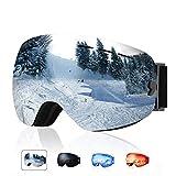 XOOYKI Ski Snowboard Goggles Winter Sports Eyewear Dual Lens Anti-Fog OTG UV Protection Replaceable Lens Elegant Packaging for Men Women