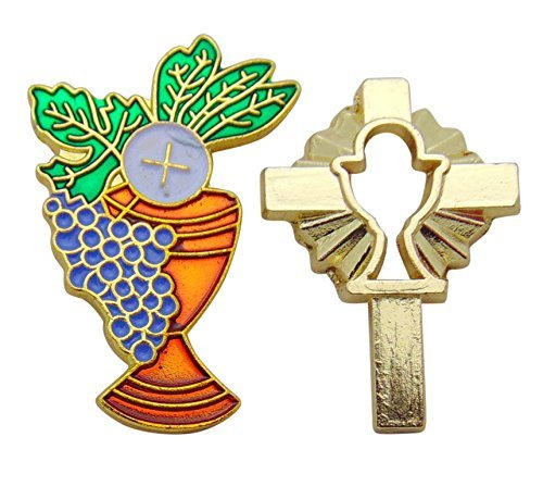 Catholic First Holy Communion Metal Chalice and Cross Pin Set, 1 Inch