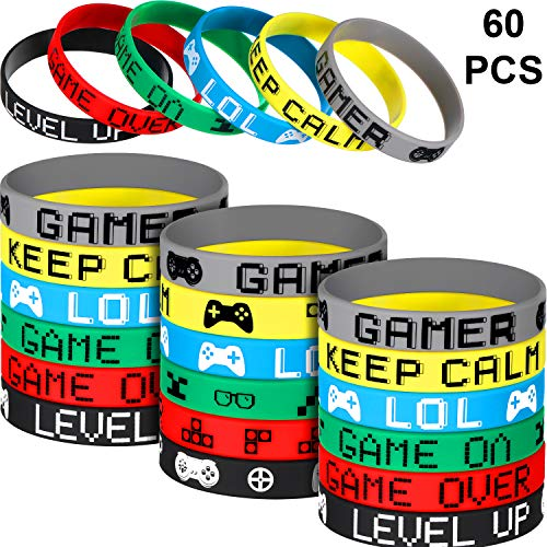 Review Jovitec 60 Pieces Video Game Bracelets Rubber Bracelets Game Party Wristbands Supplies Colore...