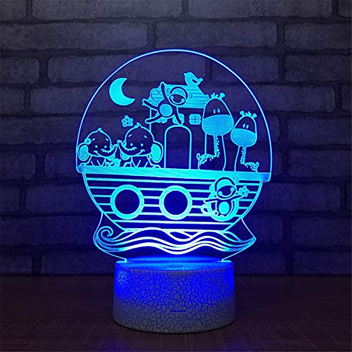 USB Powered Stunning Animal 7 Colors Remote Control Optical Illusion Night Light Crackle Paint Base Table Desk Lamps 3D Glow LED Lamp Art Sculpture Lights Toy for Kids Gifts by YiLight