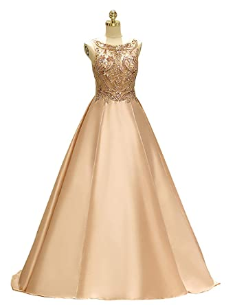 PROMNOVAS Beaded Gold Prom Dresses Satin Long Evening Dresses