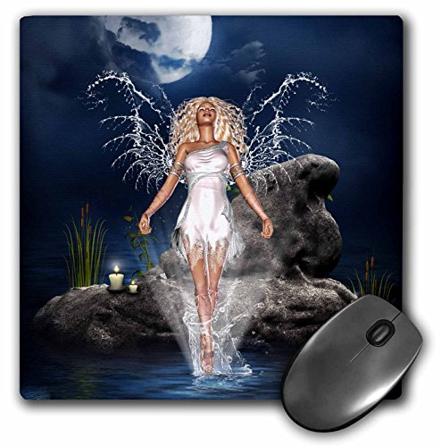 Price comparison product image 3dRose LLC 8 X 8 X 0.25 Inches Mouse Pad Water Guardian Angel Sea Candles Rock Blue Fantasy (Mp_172224_1)