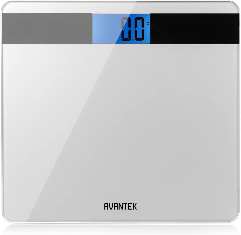 Digital Scale for Bathroom, AVANTEK Bathroom Scale with Step-On Technology Large Easy-to-Read Backlit LCD Screen Precision 0.1kg 0.2lb, Silver