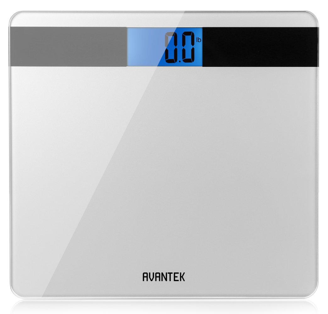 Digital Scale for Bathroom, AVANTEK Bathroom Scale with Step-On Technology & Large Easy-to-Read Backlit LCD Screen Precision 0.1kg/0.2lb, Silver