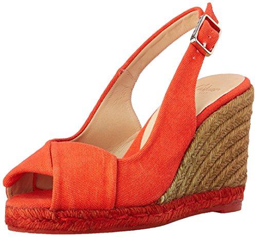 cuña Espadrille Brianda Rojo Mandarina Castaña de Sandalias vqa5w6a