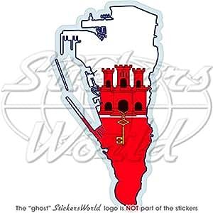 """Gibraltar gibraltarian map-flag Bumper adhesivo, adhesivo de vinilo de 4,8""""(122mm)"""