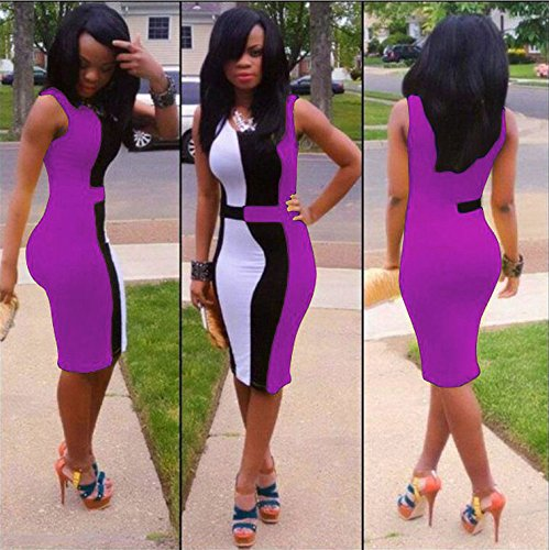 Ulike2 4 Colors European Style Sexy Ladies Bodycon Short Sleeves Party Dress for Women (S, Purple)