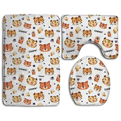 (Rawww It's Tiger Style Pedestal Rug + Lid Toilet Cover + Bath Mat Bathroom Accessories Soft Flannel Sets Bathroom Rugs and Mats 3 Piece Bath Rug Non-Slip Floor Rug \r\nToilet Covers and Rugs)