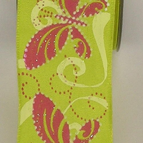 Green Butterfly Print Taffeta Wired Craft Ribbon 1.5
