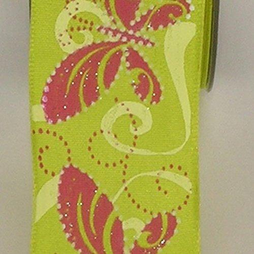 Green Butterfly Print Taffeta Wired Craft Ribbon 1.5