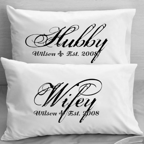 Personalized Pillowcases - Wifey Hubby - Husband and Wife ...