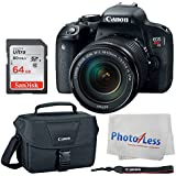 Canon EOS Rebel T7i Digital SLR Camera + EF-S 18-135mm f/3.5-5.6 IS STM Lens + Canon EOS Shoulder Bag 100ES (Black) + SanDisk Ultra SDXC 64GB 80MB/S Class 10 Flash Memory Card + Deluxe Canon Bundle