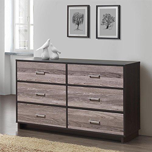 Novogratz 5969502COM-P 6 Drawer Colebrook Wood Dresser, Espresso/Weathered Oak