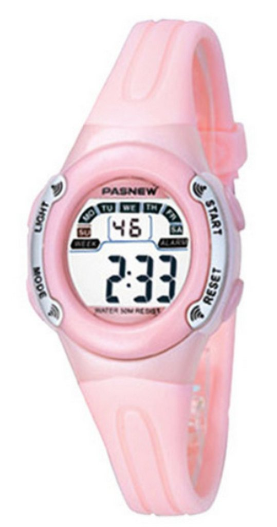 WUTONYU(TM) Student Multifunctional Sport Military Digital Watches Children Boys Girls LED Alarm Kids Wrist Watch (Pink)