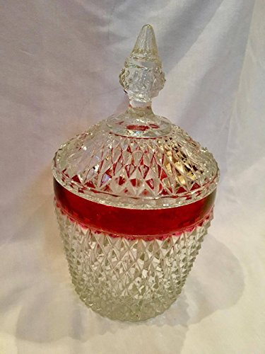 Ruby Hobnail - Indiana Glass Diamond Point with Ruby Glass Band Ice Bucket/Candy Dish (10.5