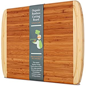 Greener Chef Extra Large Organic Bamboo Cutting Board with NEW CRACK-PREVENTION TECHNOLOGY & LIFETIME REPLACEMENT WARRANTY - Best Wood Cutting Boards for Kitchen - Juice Groove for Meat - FDA Approved