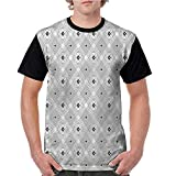 Men's Baseball Short Sleeves,Modern,Square and Lines Pattern S-XXL Casual Blouses Baseball Tshirts Top