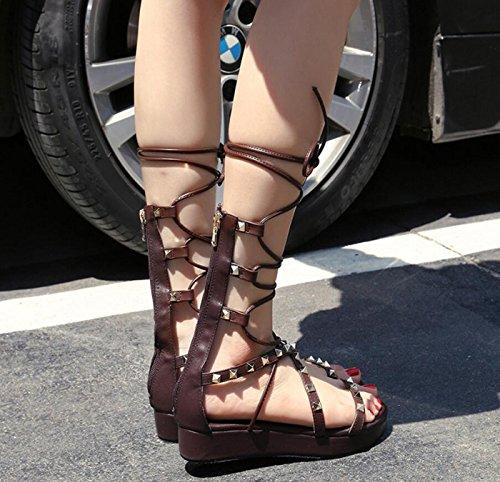 Dimensione da donna Color Black 39 sandali e romani rivetti Sandali con DANDANJIE Brown cinturini wP5RqR