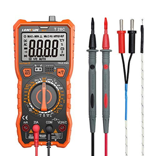 LOMVUM T28C Advanced Digital Multimeter, Trms 6000 Counts Electrical Tester AC DC Amp Ohm Voltage Tester Meter with Temperature Frequency Resistance Continuity Capacitance Diode and Transistor Test