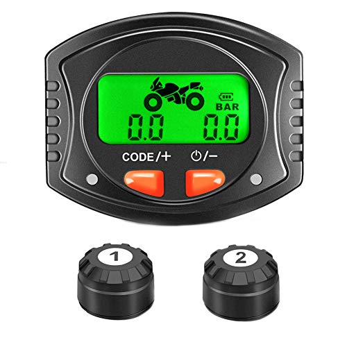 Meknic Motorcycle Wireless Tire Pressure Monitoring System with Waterproof Digital LCD Display - Motorcycle TPMS with 2 Wireless DIY External Sensors, 5 Alarm Modes and Gauge Monitoring System