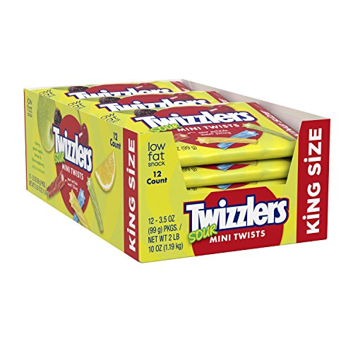 TWIZZLERS Licorice Candy, King Size Sour Mini Twists, 3.5 Ounce (Pack of 12)