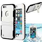 iPhone 6S Plus/6 Plus Waterproof Case, Caka Underwater Waterproof Shockproof Dirtproof Durable Protection Case with Kickstand for iPhone 6 Plus/6S Plus - (White)