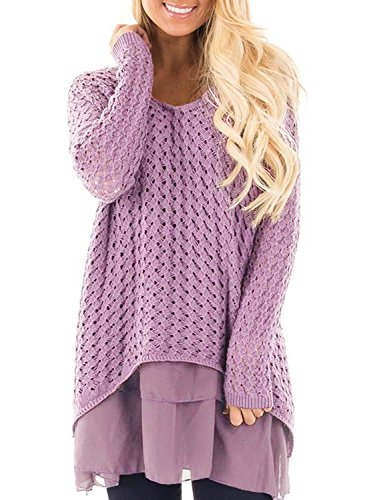 - Liyuandian Womens Knitted Sweater V Neck Casual Loose Baggy Long Pullover With Chiffon Ruffle,Purple(knitted Sweater),XX-Large