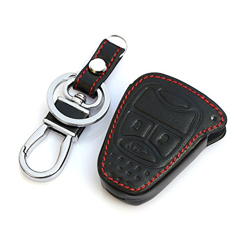 AndyGo Leather Car Remote Key Cover For Jeep Wrangler Jeep Compass Liberty Patriot Commander Grand Cherokee Black