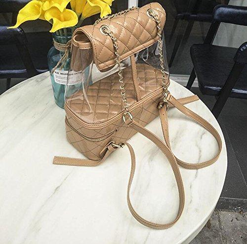 dos étudiant mode d'été sac lâche sac Brown transparent YiNan à sac à à dos main sac femme voyage Chaîne YSqWwtH6
