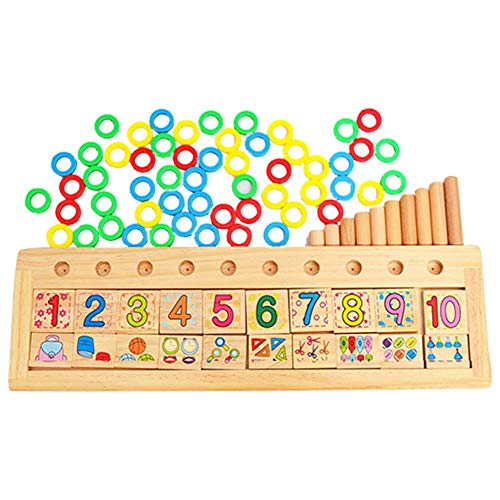 iBaste_S Montessori Rainbow Rings Dominos Children Preschool Teaching Aids Counting Stacking Board Wooden Math Toy Baby Toddler Xmas Birthday Gift