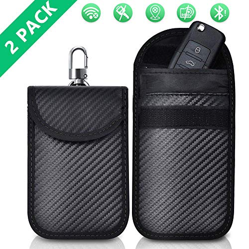 2pcs Faraday Bag Key Fob Signal Blocking, Anti Theft Keys Safe Signal Blocking Bag, Keyless Entry RFID Fob Key Security Box Protector Signal Blocking Pouch for Car