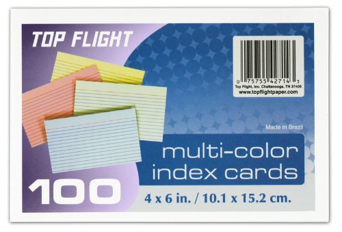 Top Flight Index Cards, Ruled, 4 x 6 Inches, Rainbow Colors, 100 Cards per Pack (4630725)