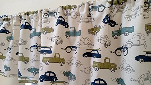 Cars valance curtain. Green, blue, outlined, kids, Boys baby nursery room decor. Natural, red, blue, yellow, green. Teens, Baby Nursery, Office, Kids, studio, window treatment. Vintage retro 51mUnOlVjmL