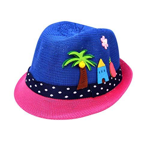 MOGOV 2019 Summer Baby Boy Girls Cute Trend Cartoon Print Breathable Hat Straw Hat Dark Blue