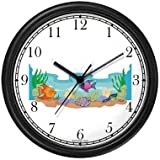 Fish at Ocean Bottom Animal Wall Clock by WatchBuddy Timepieces (Hunter Green Frame)