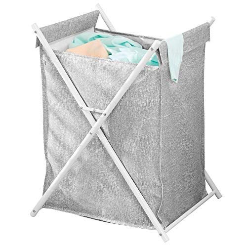 - mDesign Sturdy Cloth Single Laundry Hamper Bag - Portable and Collapsible Folding Clothes Basket Storage, Polyester Bag with Protective Coating Lined Fabric - Strong Metal X Frame - Gray/White