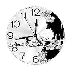 GULTMEE Silent Wall Clock Non Ticking 10 inch Quartz Round Decorative, Flower Musical Composition with Bird Scrolled Lily Petals Nature Growth