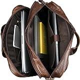 2 Colors, Acecle Vintage Multi-function Men Leather Briefcase 15.6 16 17 17.3 Inch Laptop Bag
