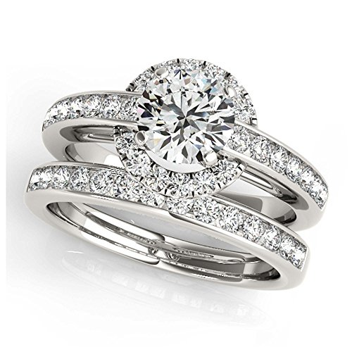 14K White Gold Unique Wedding Diamond Bridal Set Style MT50869