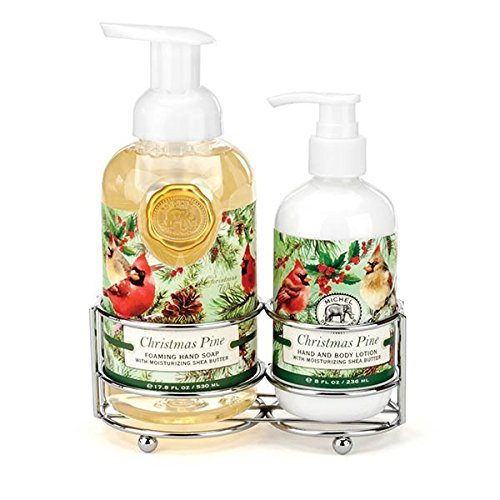 Michel Design Works Scented Foaming Hand Soap and Lotion Caddy Gift Set, Christmas Pine