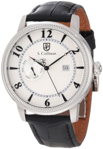 S. Coifman Men's SC0191 Silver Textured Dial Black Leather Watch ()