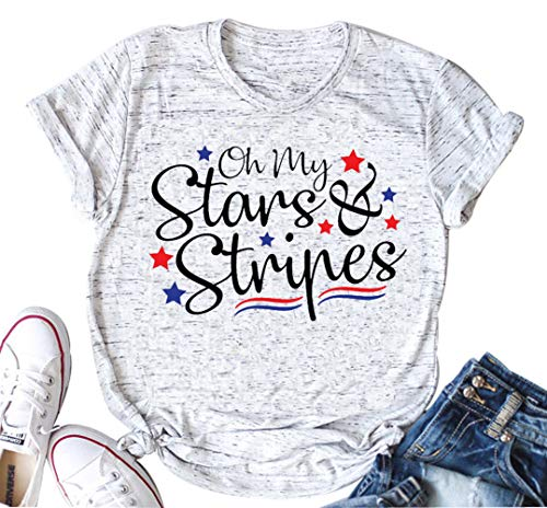 Oh My Stars and Stripes Independence Day T Shirt Women Merica Flag Casual O Neck Tops Tee (Small, White) (Not Drunk Girls T-shirt)