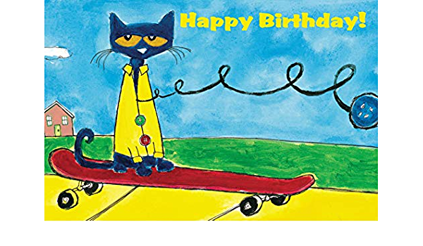 2x4 feet Pete the Cat vinyl Birthday Banner