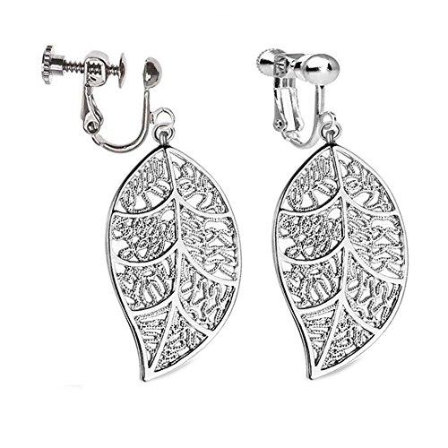 Clip On Earrings Hollow Big Leaf Earrings Dangle Silver Tone Plated Proms Gift