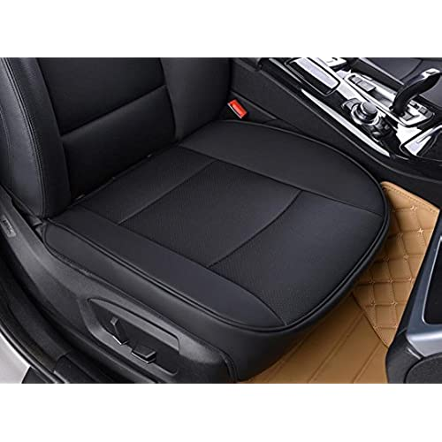 EDEALYN Luxury Car Interior PU Leather Seat Cushion Protector Front CoverSingle CushionW205xL21 Black