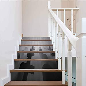 Self-Adhesive Stair Stickers Removable Stickers, Horror House Decor Render of a Graveyard Tombstone Funeral, for Walls Kitchen Stair Decals Home Decorations, W43.3 x H7.08 Inch x6PCS
