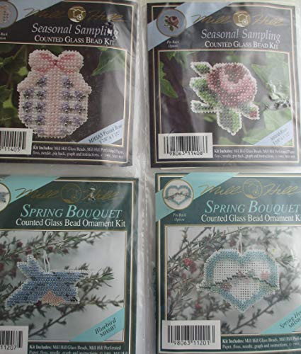 (Seasonal Sampling Counted Glass Bead Kits for 4 Different Ornaments Pastel Bow, Bluebird, Rose, Spring Heart)